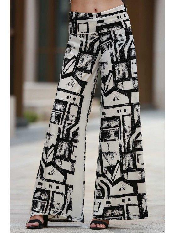 Geometric Print Palazzo Pants - WHITE AND BLACK S Mobile