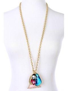 Delicate Faux Gemstone Triangle Necklace - Golden