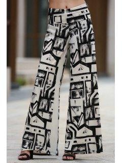 Geometric Print Palazzo Pants - White And Black M