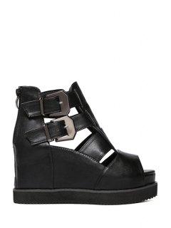 Peep Toe Hollow Out Platform Sandals - Black 34