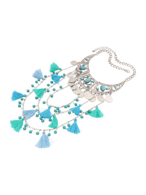 outfits Bohemia Coin Tassel Multi-Layered Necklace - BLUE  Mobile