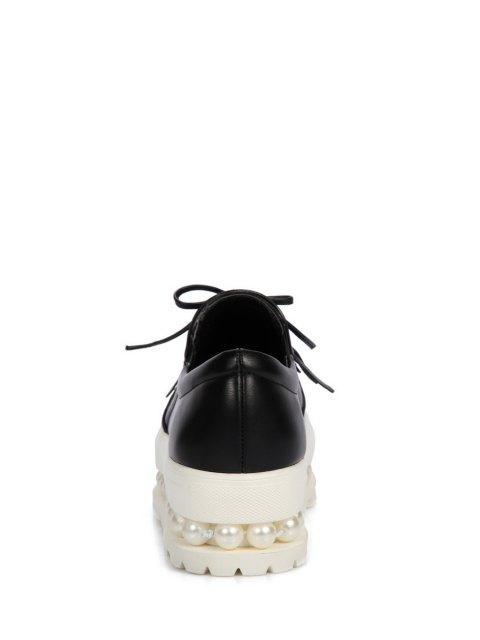 sale Fringe Faux Pearl Slip-On Platform Shoes - BLACK 39 Mobile