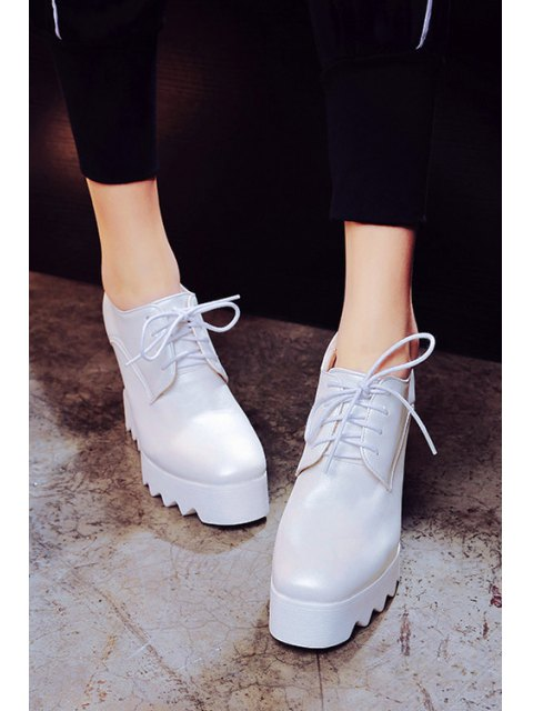 best Solid Color Lace-Up Wedge Shoes - WHITE 38 Mobile