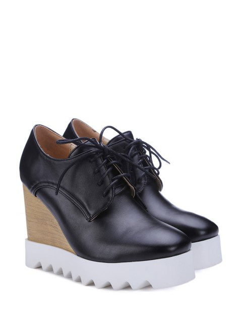 buy Solid Color Lace-Up Wedge Shoes - BLACK 38 Mobile