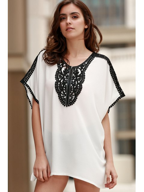 ladies Square Cut Combined Lace T-Shirt - WHITE ONE SIZE(FIT SIZE XS TO M) Mobile