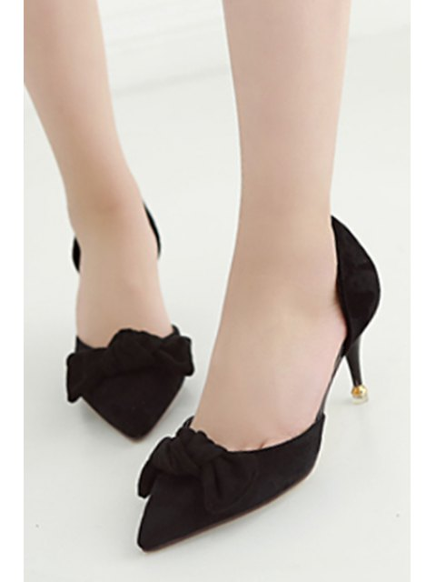 ladies Bowknot Two-Piece Pointed Toe Pumps - BLACK 36 Mobile