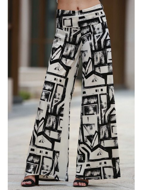 shop Geometric Print Palazzo Pants - WHITE AND BLACK S Mobile