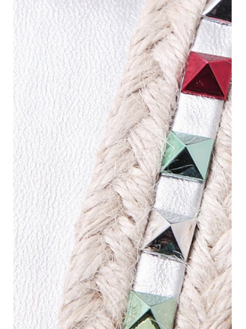 sale Colorful Rivet Weaving Wedge Heel Sandals - WHITE 38 Mobile