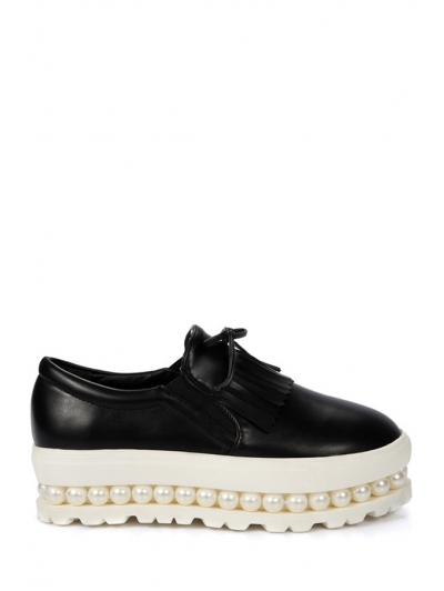 Image For Fringe Faux Pearl Slip-On Platform Shoes