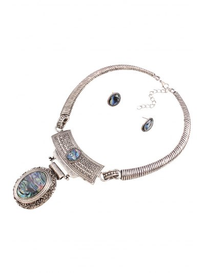 Vintage Faux Gem Oval Necklace and Earrings - SILVER  Mobile