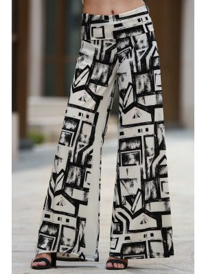 Geometric Print Palazzo Pants - White And Black