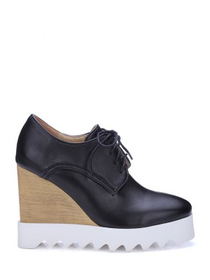 Solid Color Lace-Up Wedge Shoes - Black