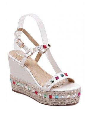 Colorful Rivet Weaving Wedge Heel Sandals - White