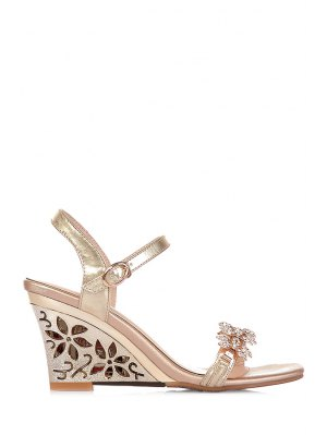 Rhinestone Hollow Out Wedge Heel Sandals - Golden