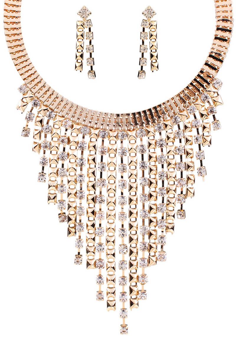 Rhinestone Tassel Necklace and Earrings