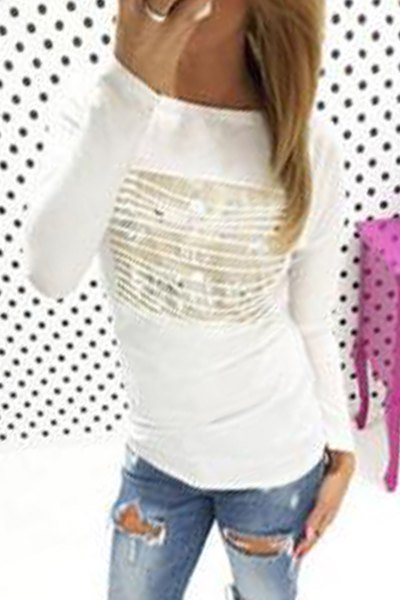 Round Neck Long Sleeve Ripped T-Shirt
