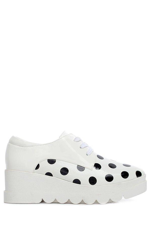 Polka Dot Lace Up Platform Shoes 173942412