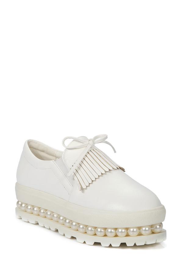 Faux Pearl Design Platform Shoes For Women