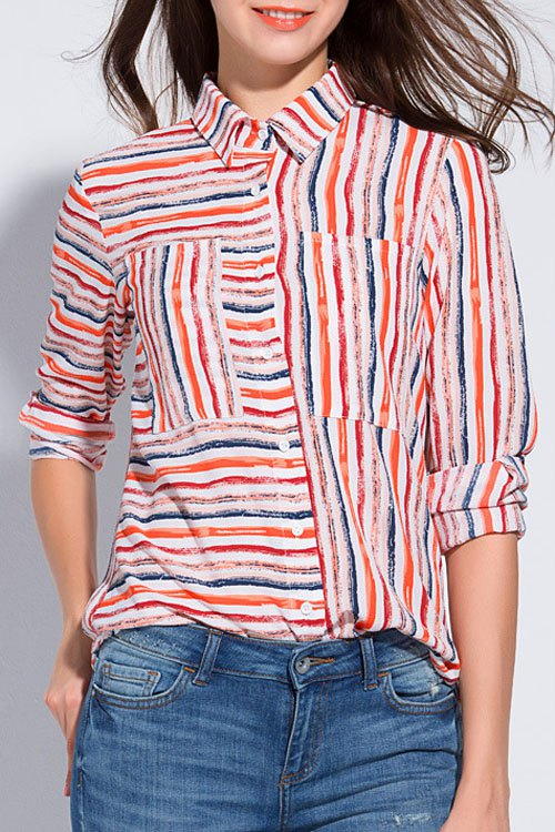 Turn-Down Collar Long Sleeve Striped Plus Size Shirt