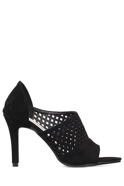 Black Openwork Peep Toe Sandals