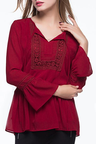Lace-Up Combined Lace Flare Sleeve Claret Top