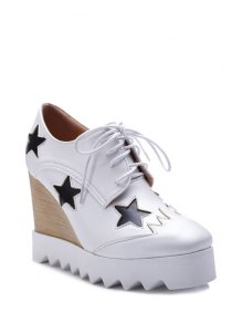 Star Pattern Lace-Up Wedge Shoes - White