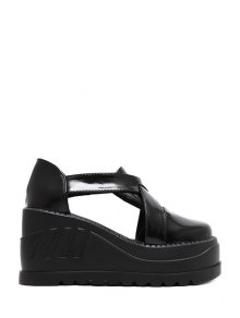 Criss-Cross Hollow Out Black Platform Shoes