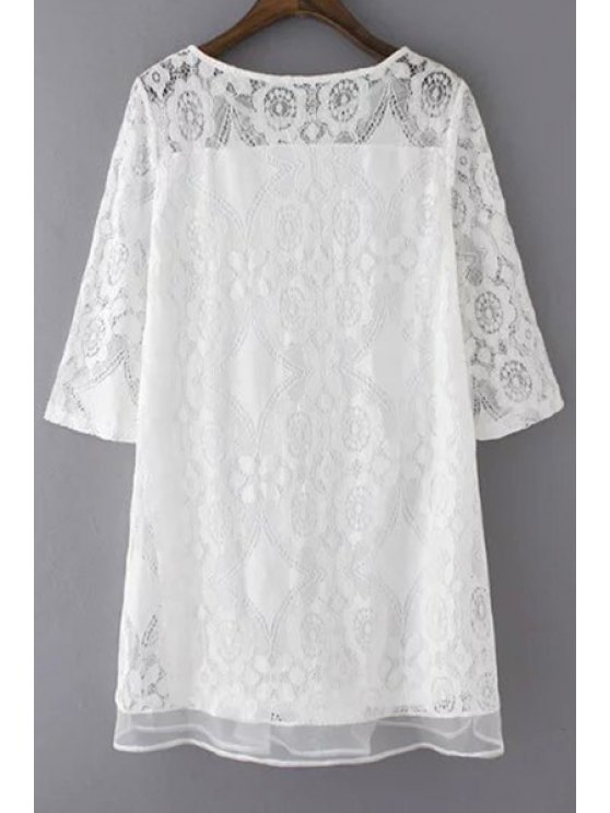 A-Line Guipure Lace Swing Dress - WHITE M Mobile