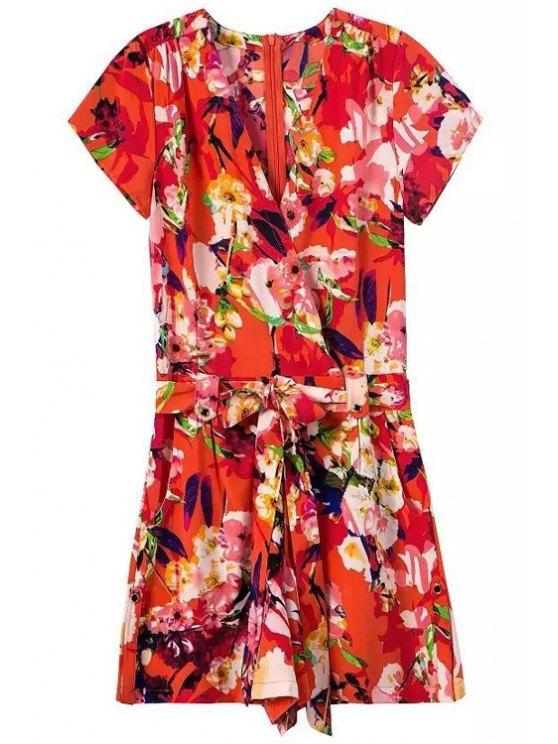 Floral africano del estilo de impresión con cinturón Romper - Rojo L