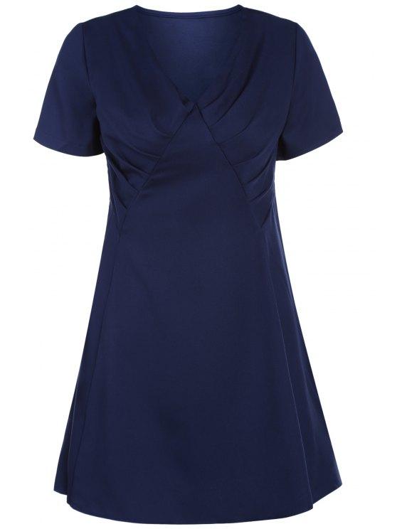 V-cuello del vestido del oscilación del color sólido - Azul Purpúreo L