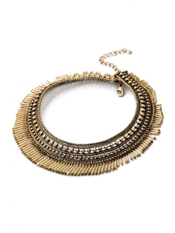 Chunky Alloy Fringed Necklace -   Mobile
