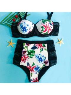 Sexy Spaghetti Strap Floral Print Plus Size Women's Bikini Set - Black 2xl