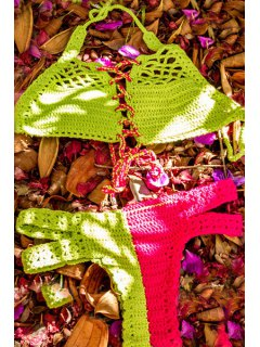 Color Block Handwork Knitted Bikini Set - Green Xl