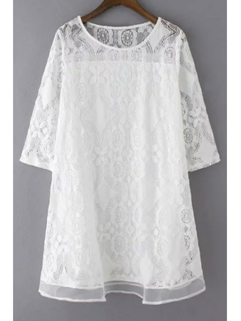 fancy A-Line Guipure Lace Swing Dress - WHITE M Mobile