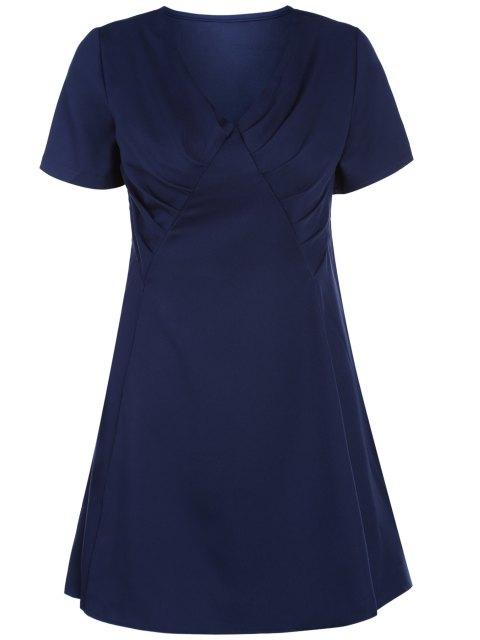 hot V-Neck Solid Color Swing Dress - PURPLISH BLUE L Mobile