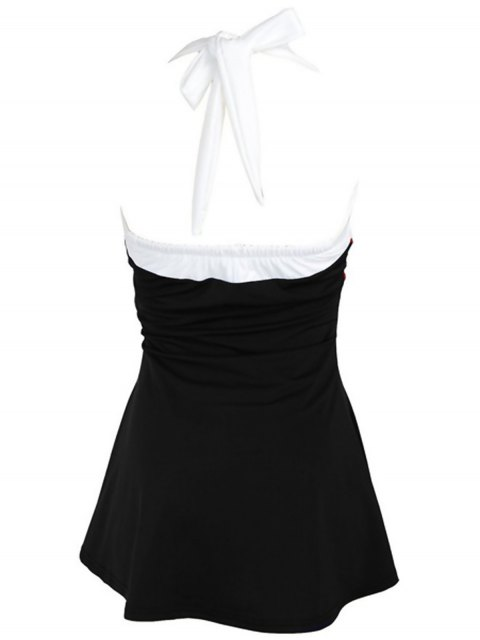 outfits Halter Convertible Sailor Retro Swimdress Bathing Suit - BLACK AND WHITE AND RED M Mobile