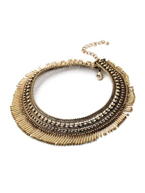 trendy Chunky Alloy Fringed Necklace -   Mobile