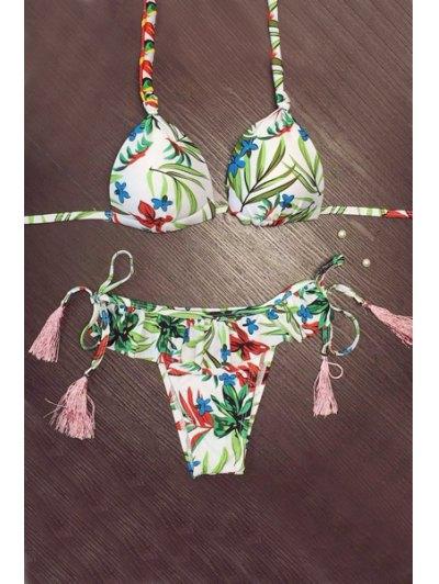 Lace-Up Leaf Print Halter Fringe Bikini - White L