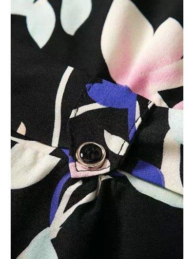 Pocket Design Belted Floral Playsuit - BLACK M Mobile