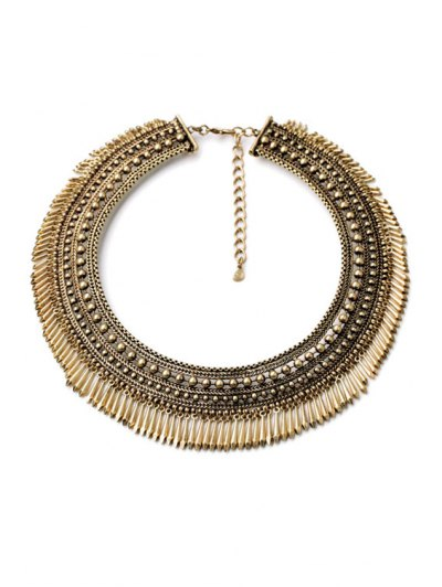 Chunky Alloy Fringed Necklace - GOLDEN  Mobile