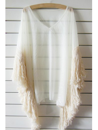 Tassels See Through V Neck Bat-Wing Sleeve Cover Up - Off-white One Size(fit Size Xs To M)