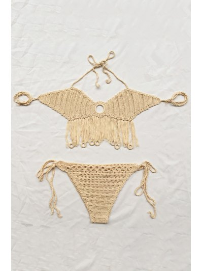 Fringe Solid Color Cut Out Halter Crochet Bikini Set - Apricot One Size(fit Size Xs To M)