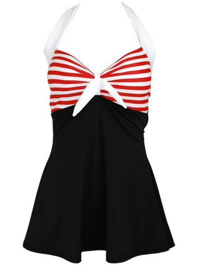 Halter One-Piece Striped Multi Convertible Way Swimwear - BLACK AND WHITE AND RED 2XL Mobile