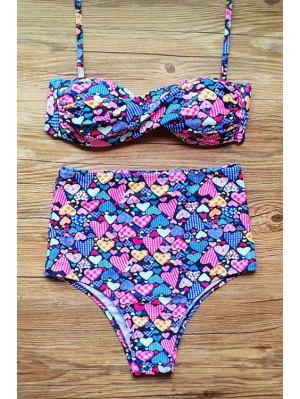 Gathered Floral Print Halter High Waist Bikini Set - Purple