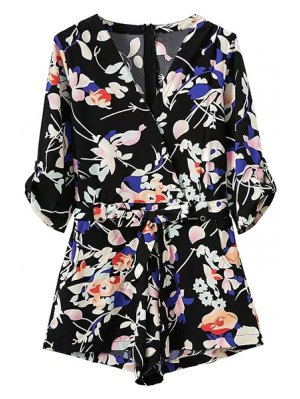 Pocket Design Belted Floral Playsuit - Black
