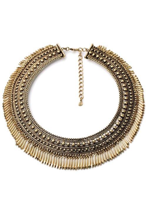 Vintage Chunky Alloy Tassel Necklace