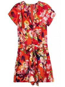 African Style Floral Print Belted Romper