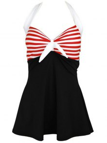 Halter Convertible Sailor Retro Swimdress Bathing Suit - Black And White And Red 2xl