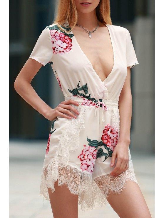 Impression florale Plongeant cou à manches courtes Romper - Blanc L