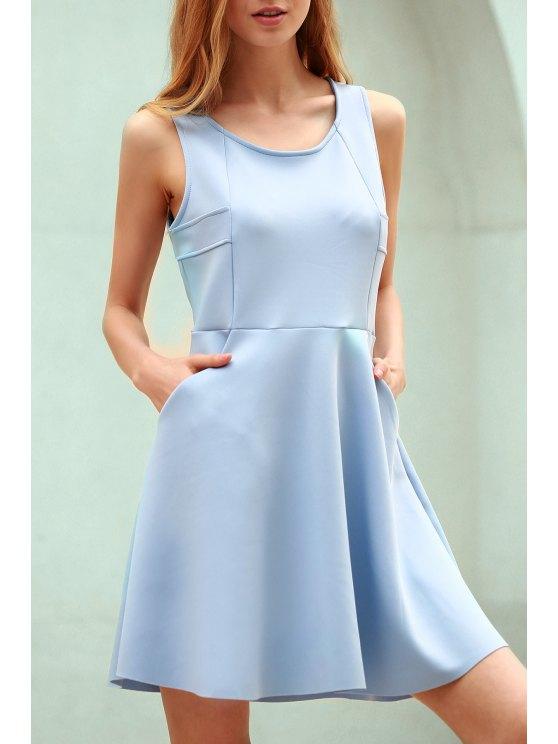 women Light Blue Hollow Scoop Neck Sleeveless Sundress - LIGHT BLUE 2XL